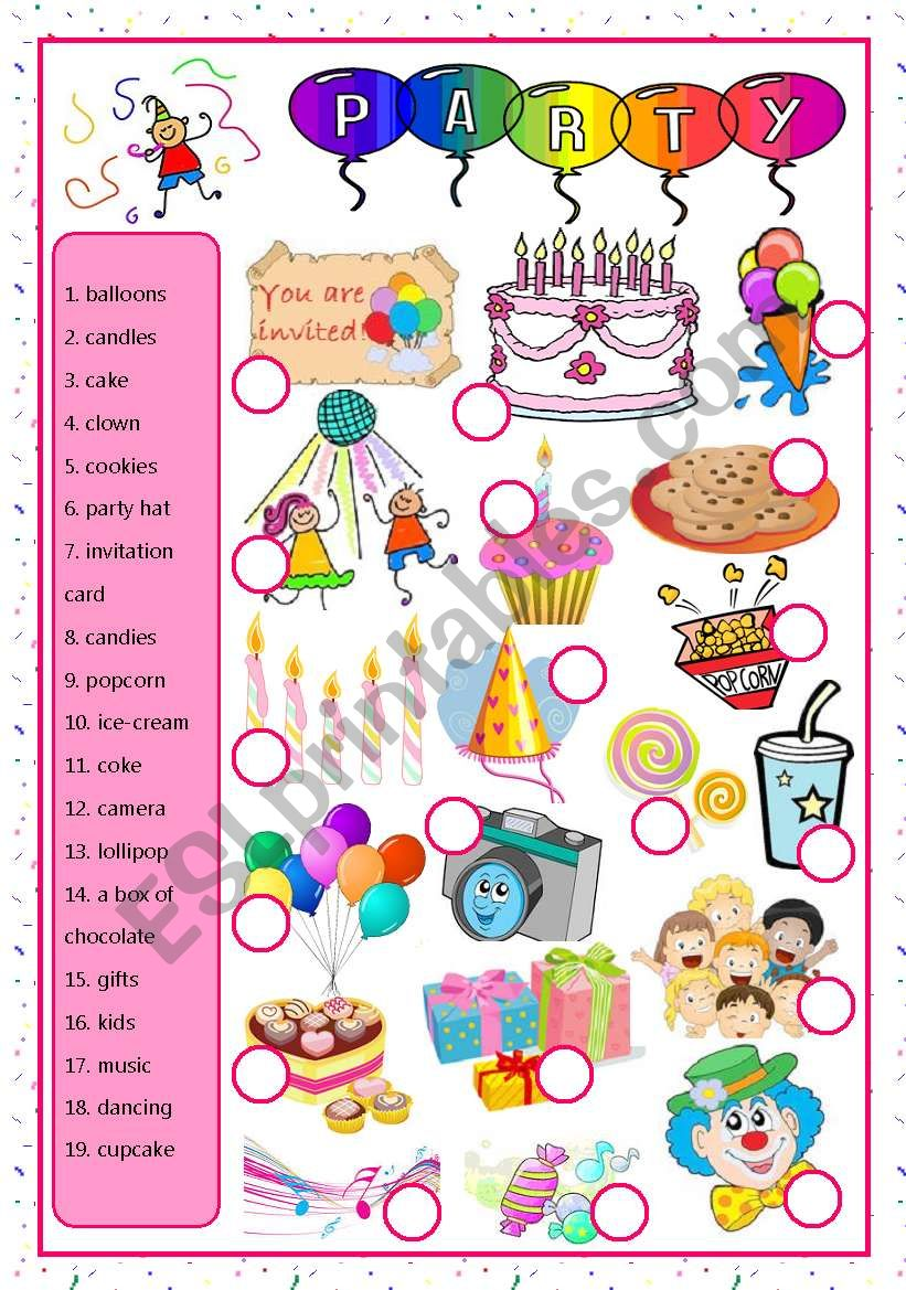 party-matching worksheet