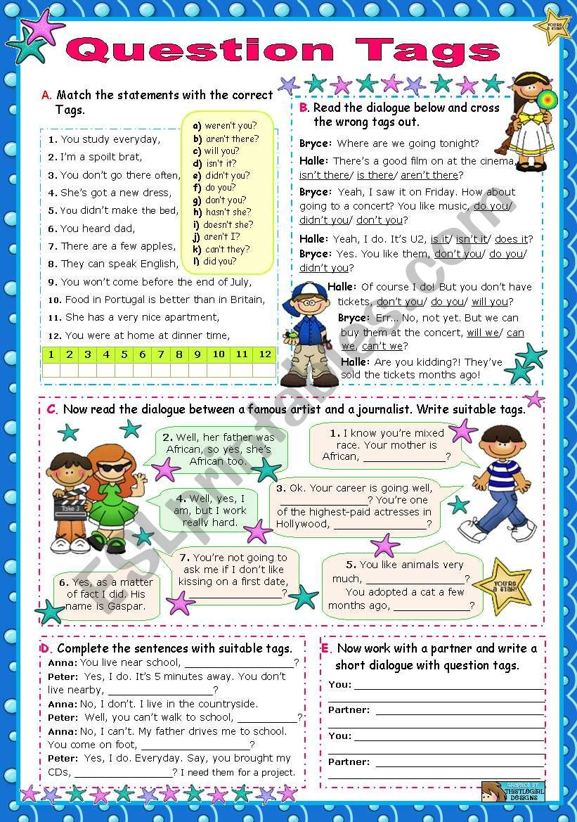 Question Tags for elementary students (Perfect Tenses not included)