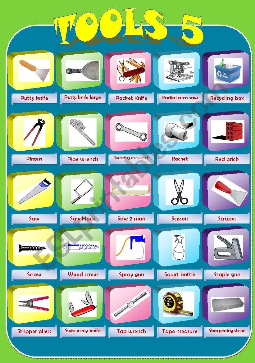 Pictonary Tools 5 - ESL worksheet by miry