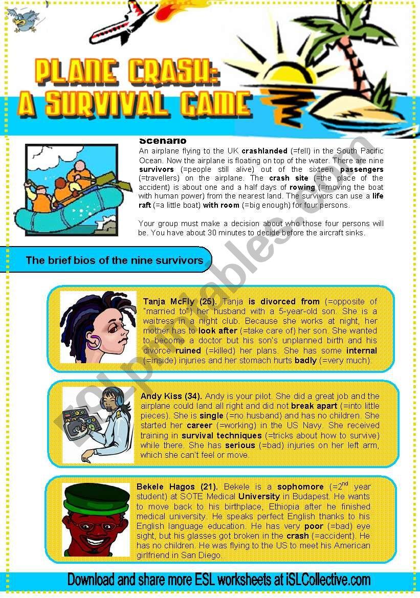 Plane Crash Survivors (Debate 2.) New characters Pre-Intermediate