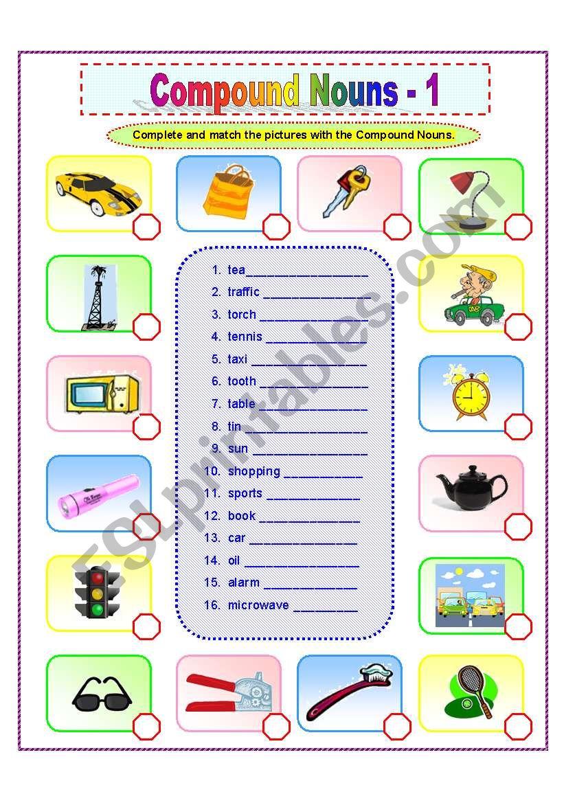 Compound Nouns -1/2 worksheet
