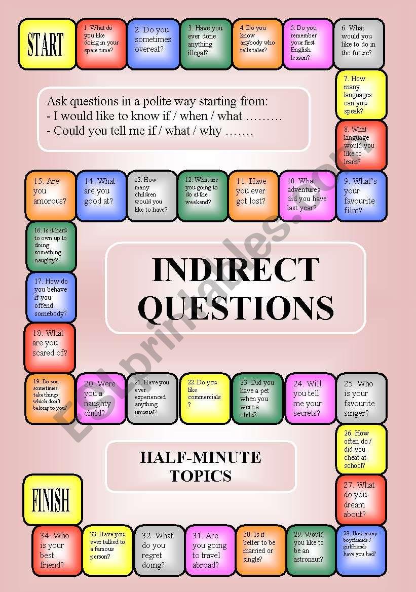 Indirect questions - a boardgame (key, editable, B/W)