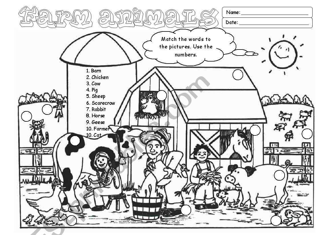 Farm Animals (Editable) worksheet