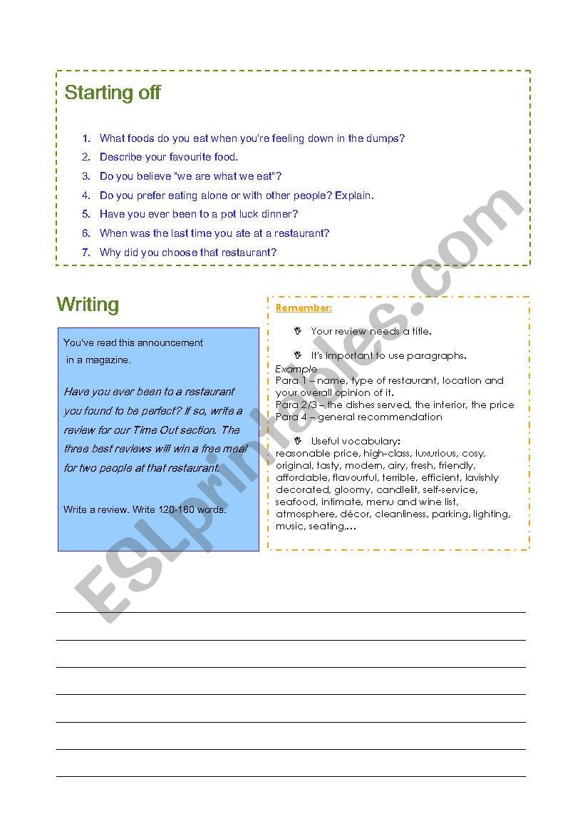 English worksheets: Restaurant review