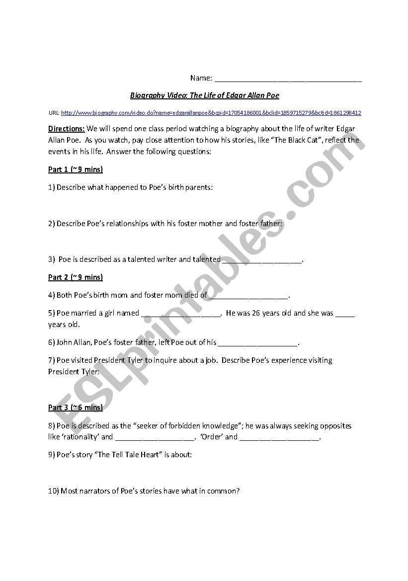 English Worksheets Edgar Allan Poe Biography Worksheet