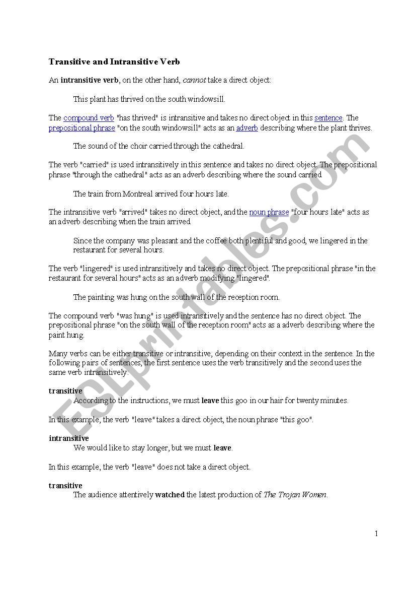Worksheets Transitive And Intransitive Verbs Worksheet transitive and intransitive verbs esl worksheet by auntypeacock verbs