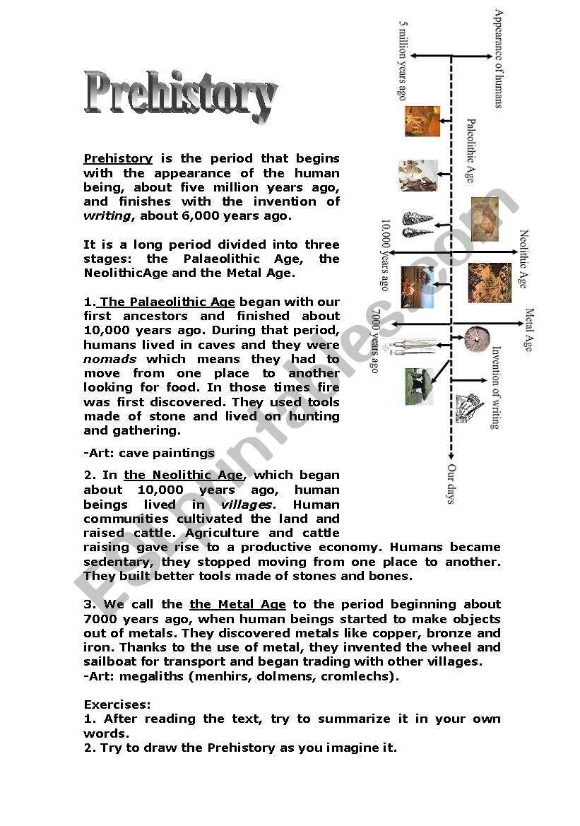 Easy-to-learn Prehistory! worksheet