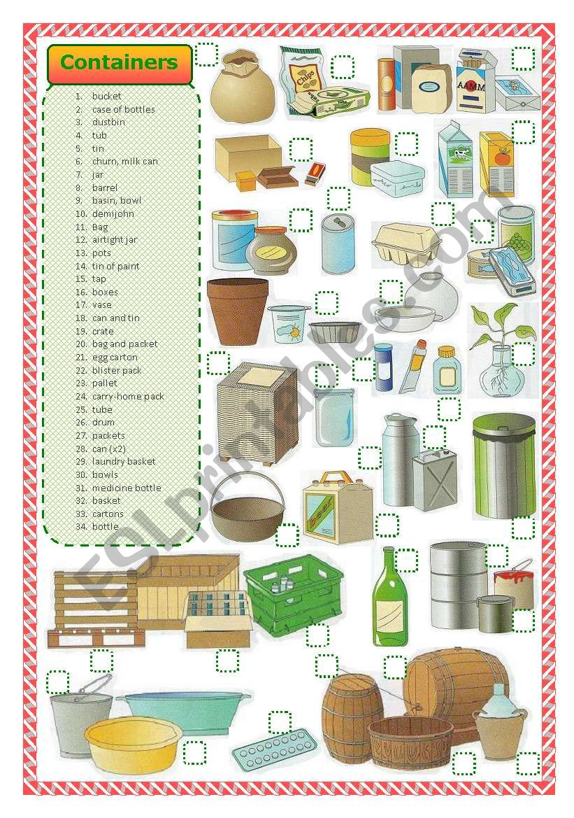 Containers-matching activity worksheet