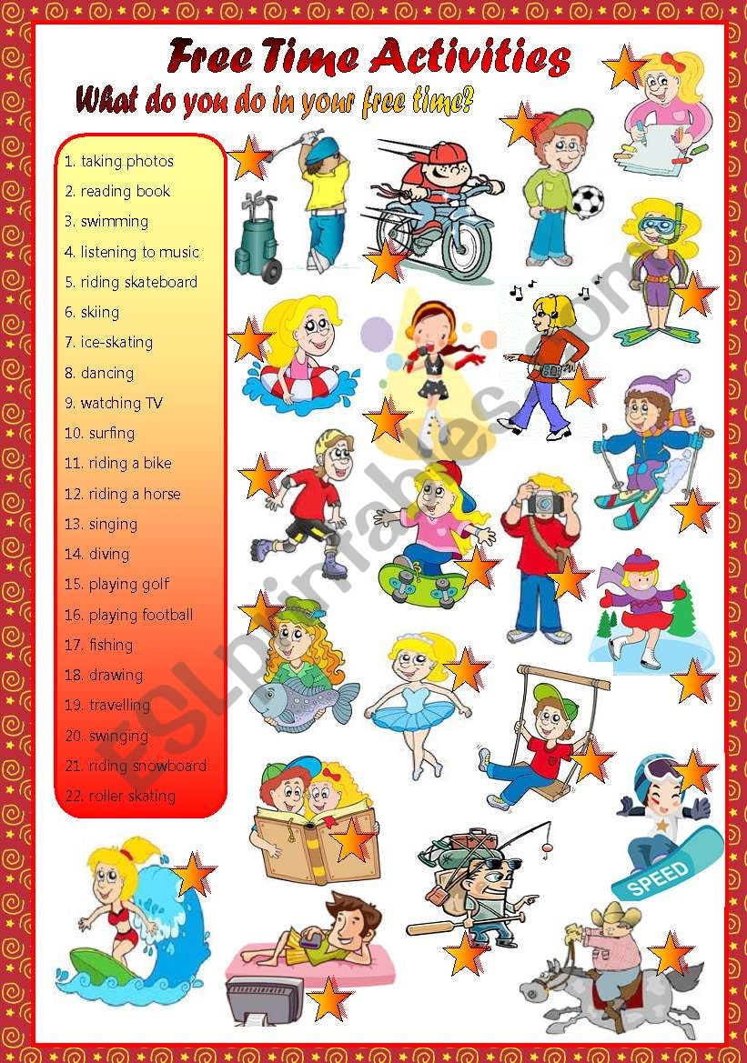 free time activities-matching worksheet