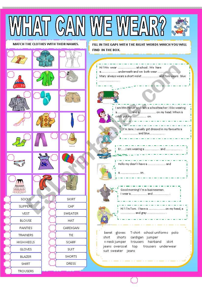 WHAT CAN WE WEAR? worksheet