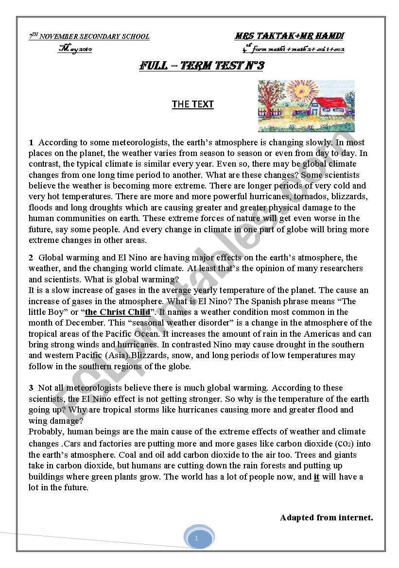 full-term test n°3 4th form  worksheet