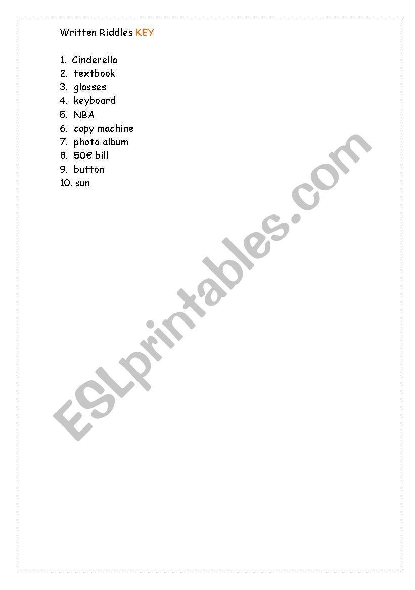 Reading Comprehension Riddles - ESL worksheet by deeedee