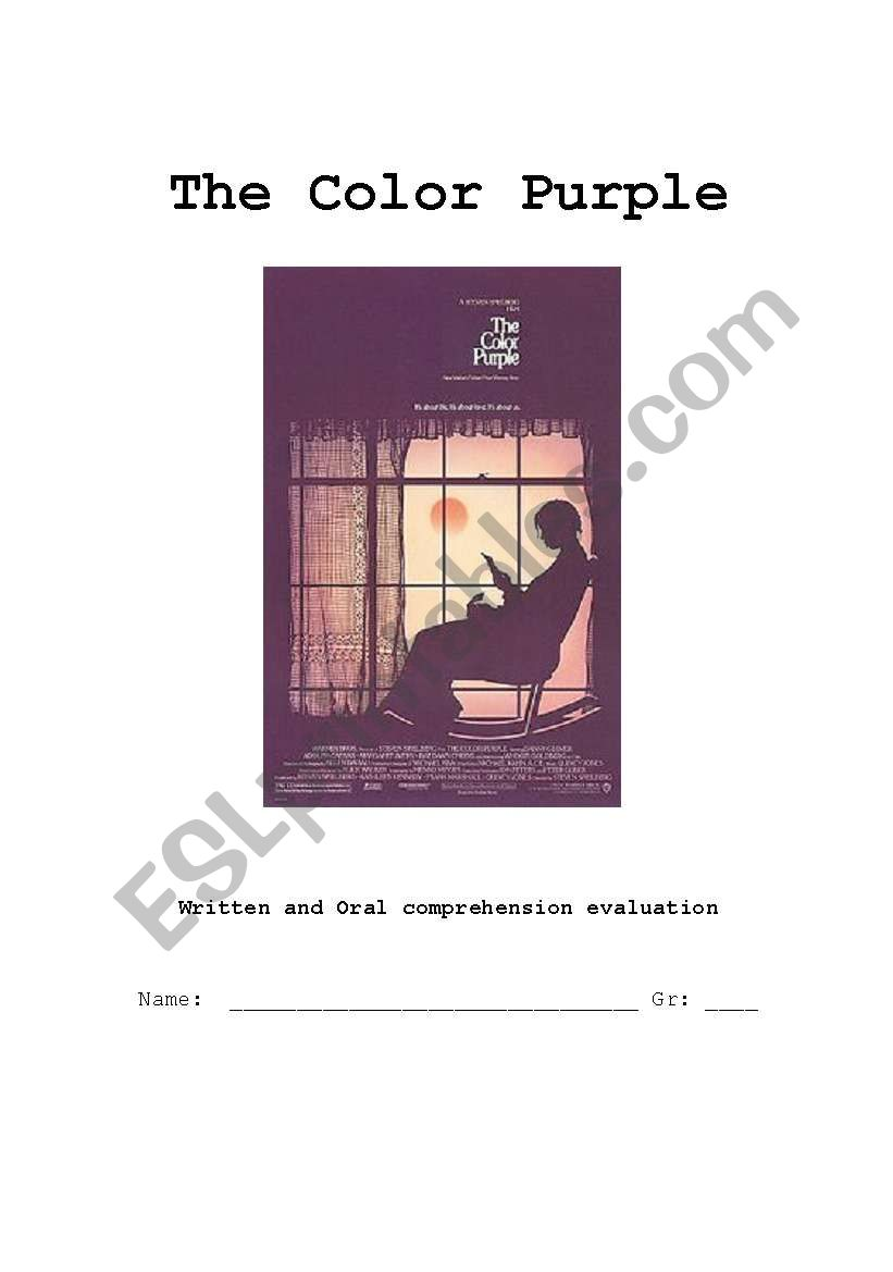 The color purple written and oral comprehension