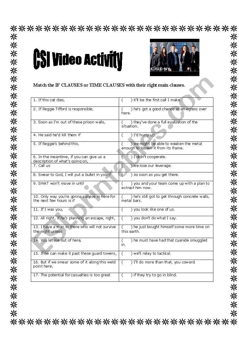 If clauses - CSI video activity - ESL worksheet by Adriportes