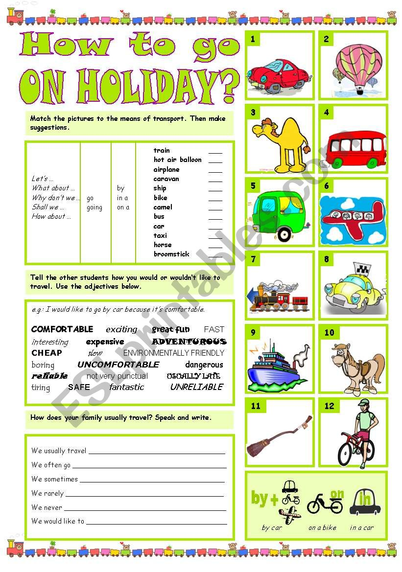 HOW TO GO ON HOLIDAY worksheet