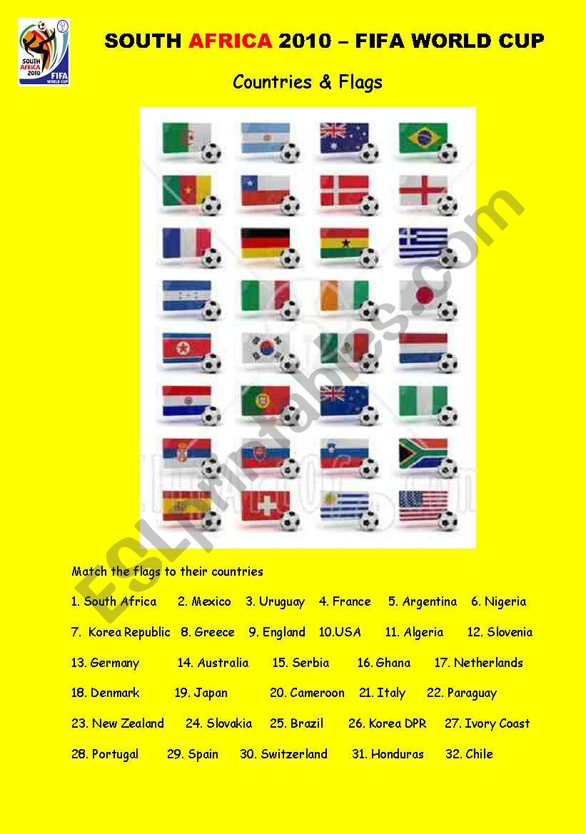 SOUTH AFRICA 2010 - COUNTRIES & FLAGS (2 pages)