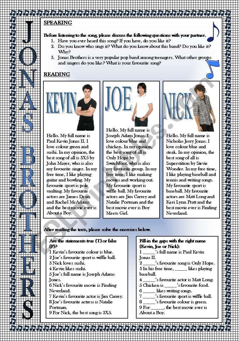 Jonas Brothers, Keep It Real-4 SKILLS LESSON (READING, SPEAKING, LISTENING, WRITING), FULLY EDITABLE, KEY INCLUDED