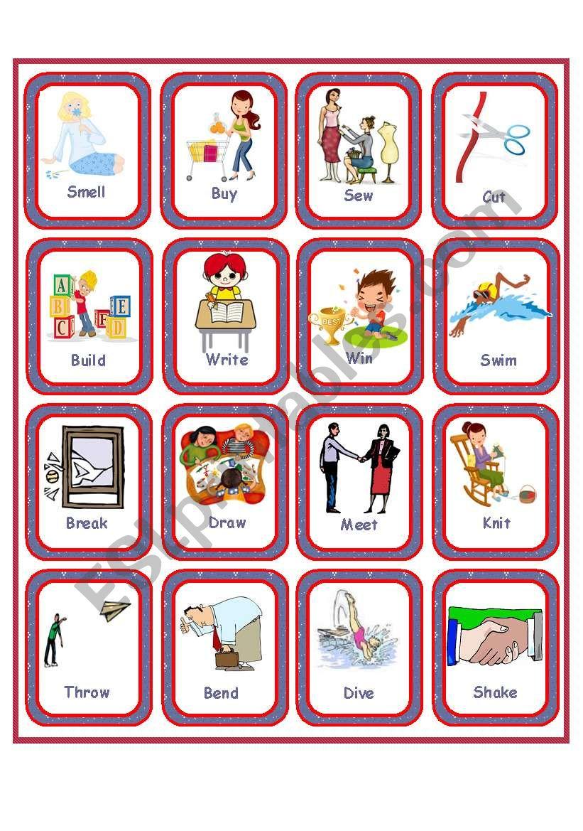 Flashcards Irregular Verbs Set 2 Esl Worksheet By Anna P