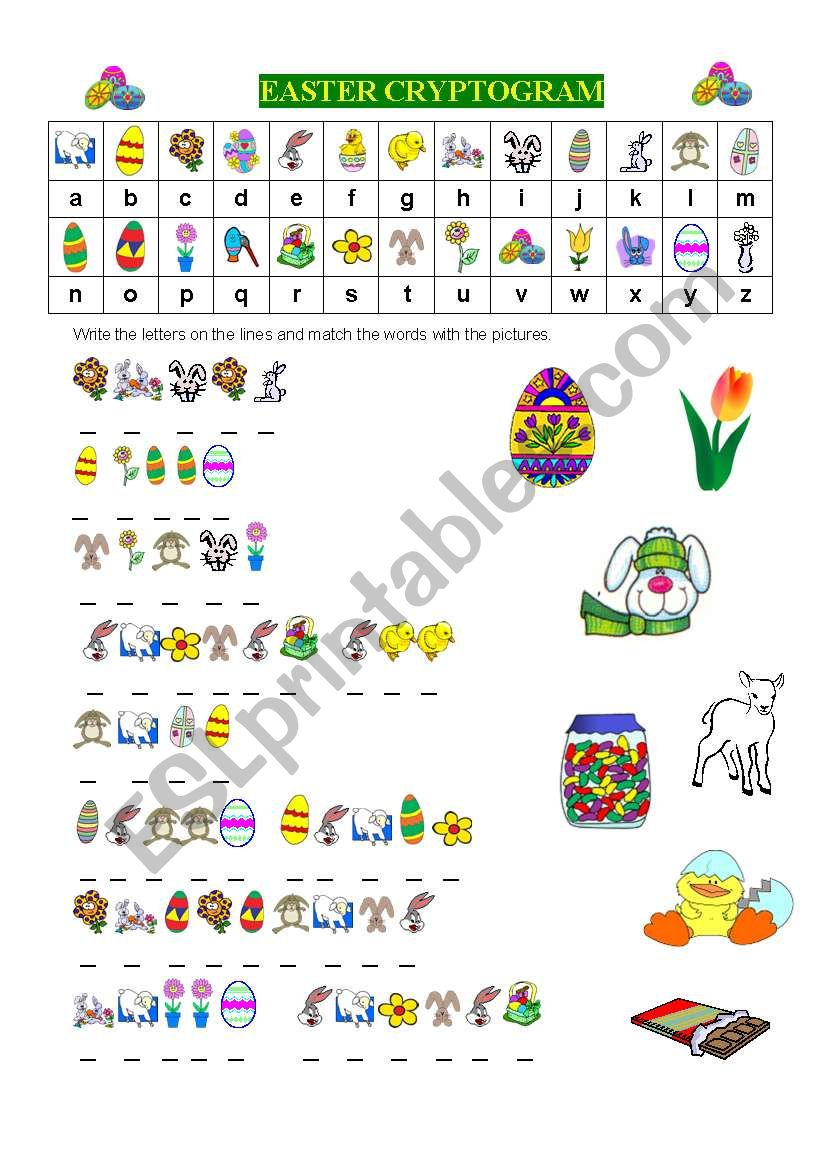 EASTER CRYPTOGRAM worksheet