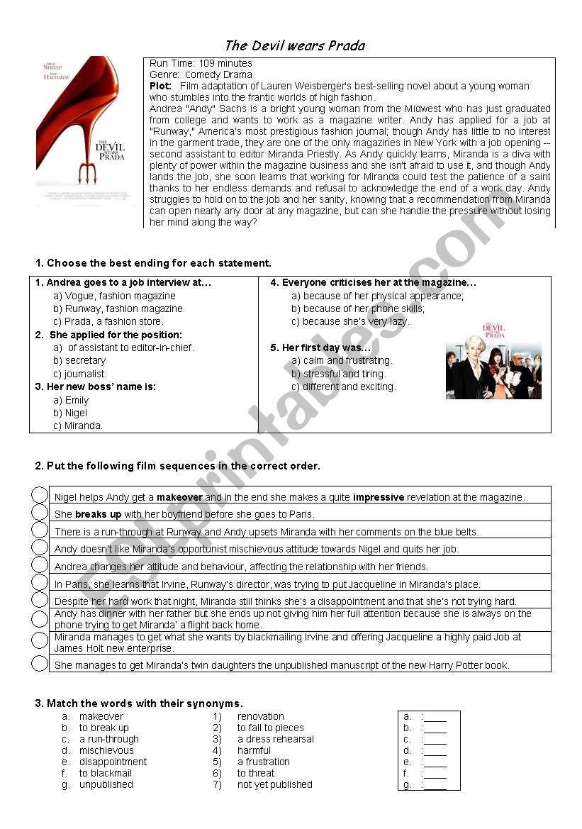 DEVIL WEARS PRADA  worksheet