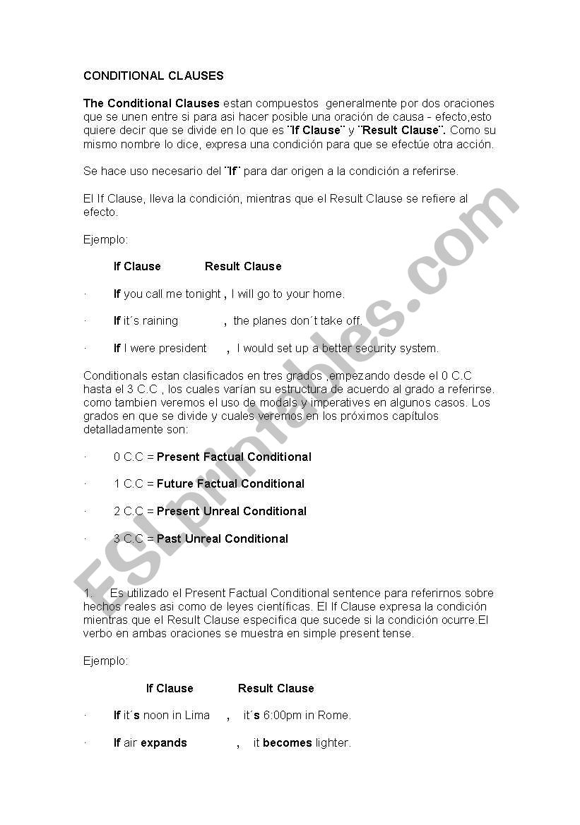 Conditionals Esl Worksheet By Alivenglish