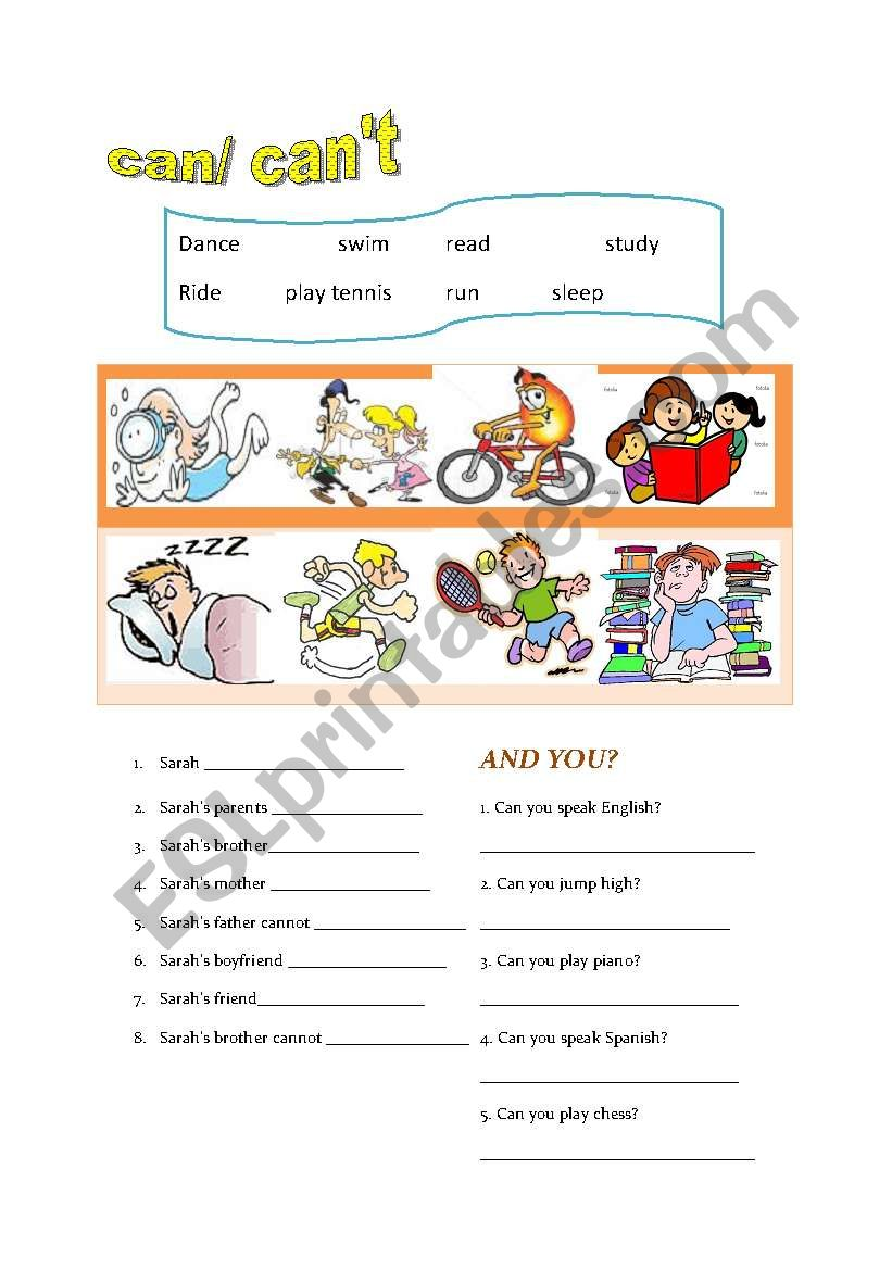 can/cannot worksheet