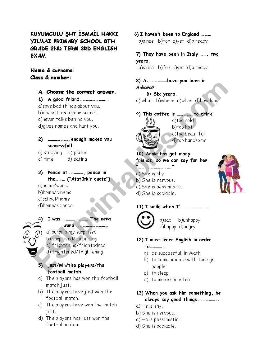 my English 8 th grade 3rd exam