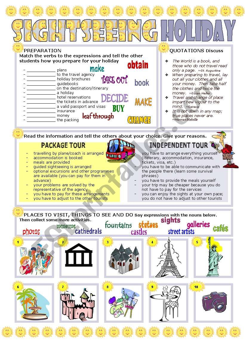 SIGHTSEEING HOLIDAY worksheet