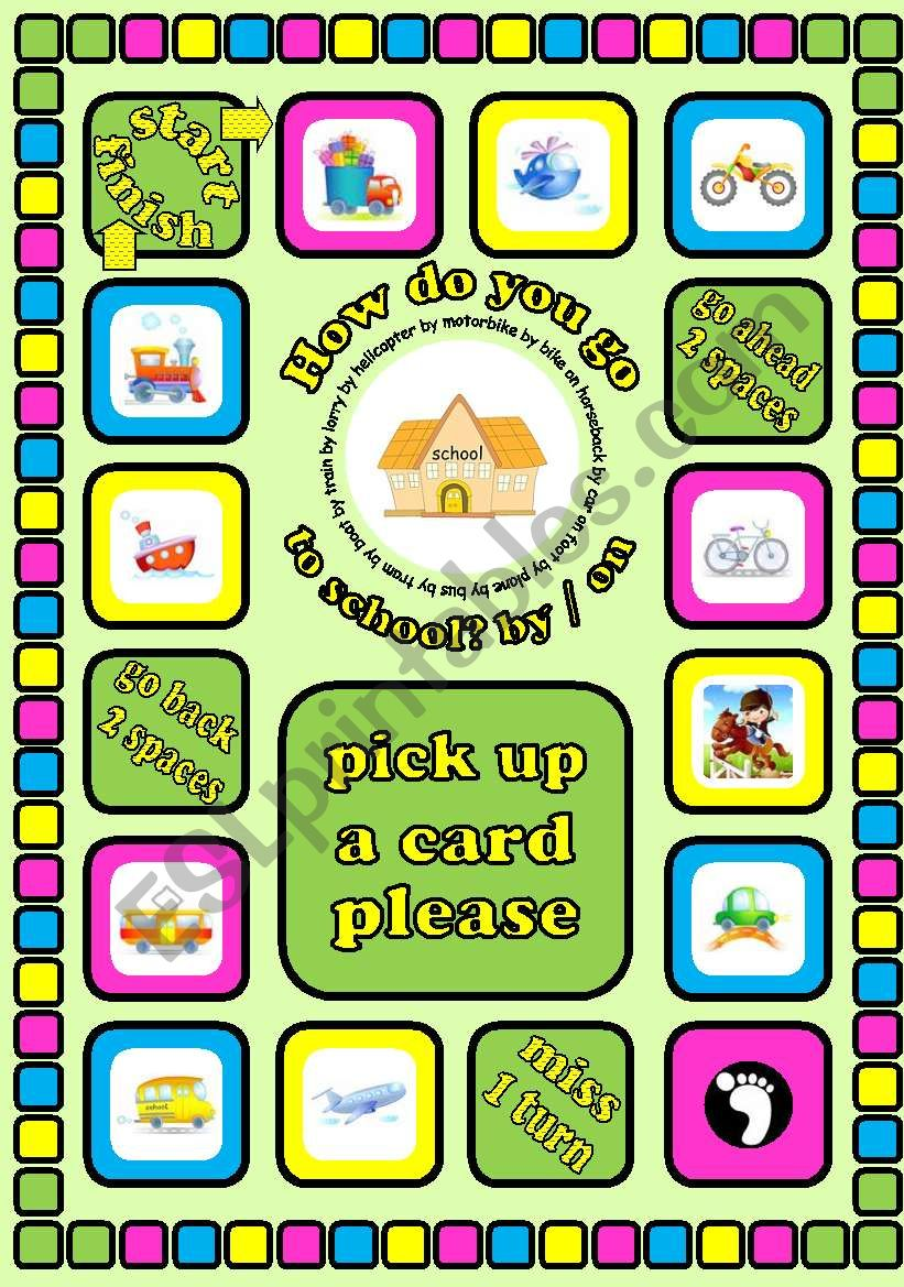 How do you go to school? by... / on... Means of transport board game + cards + instructions. Fully editable
