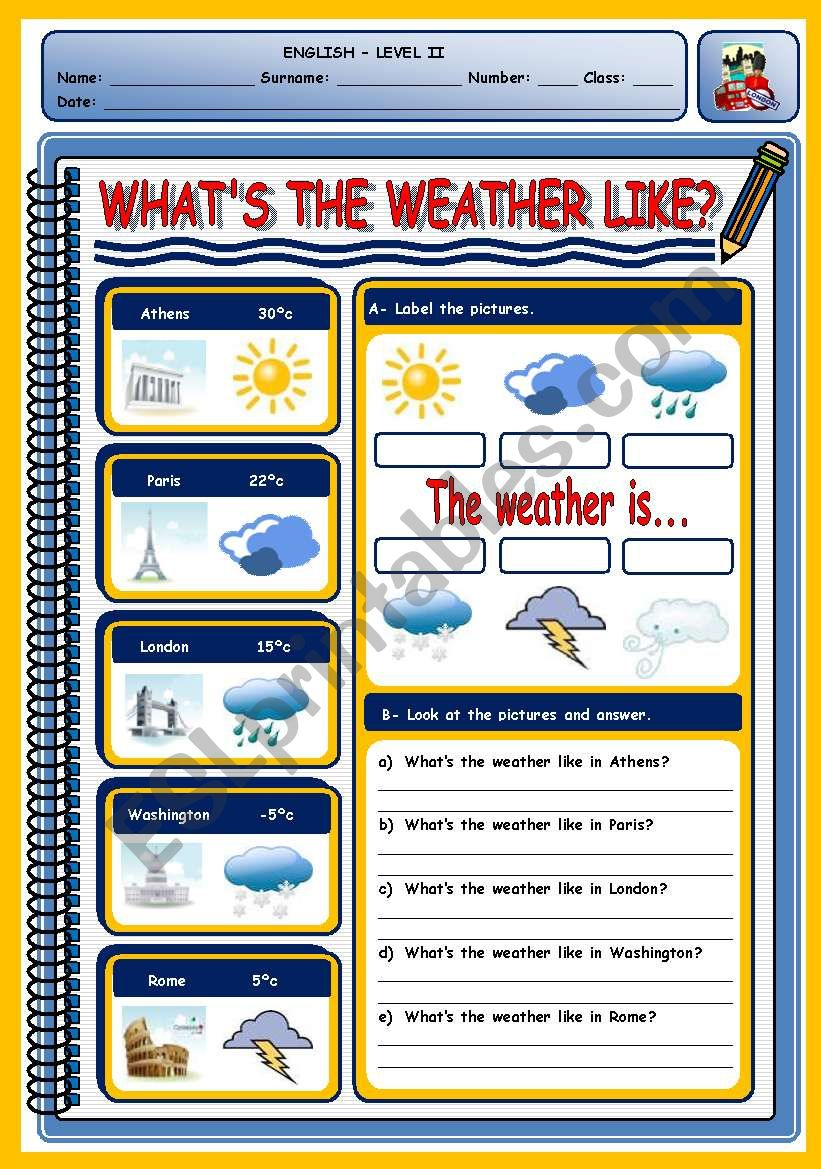WHAT´S THE WEATHER LIKE? worksheet