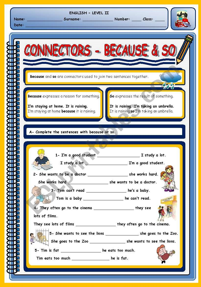 CONNECTORS - BECAUSE & SO worksheet