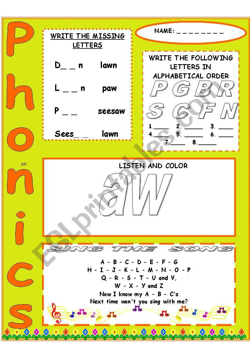 Phonics Aw Esl Worksheet By Macinchina