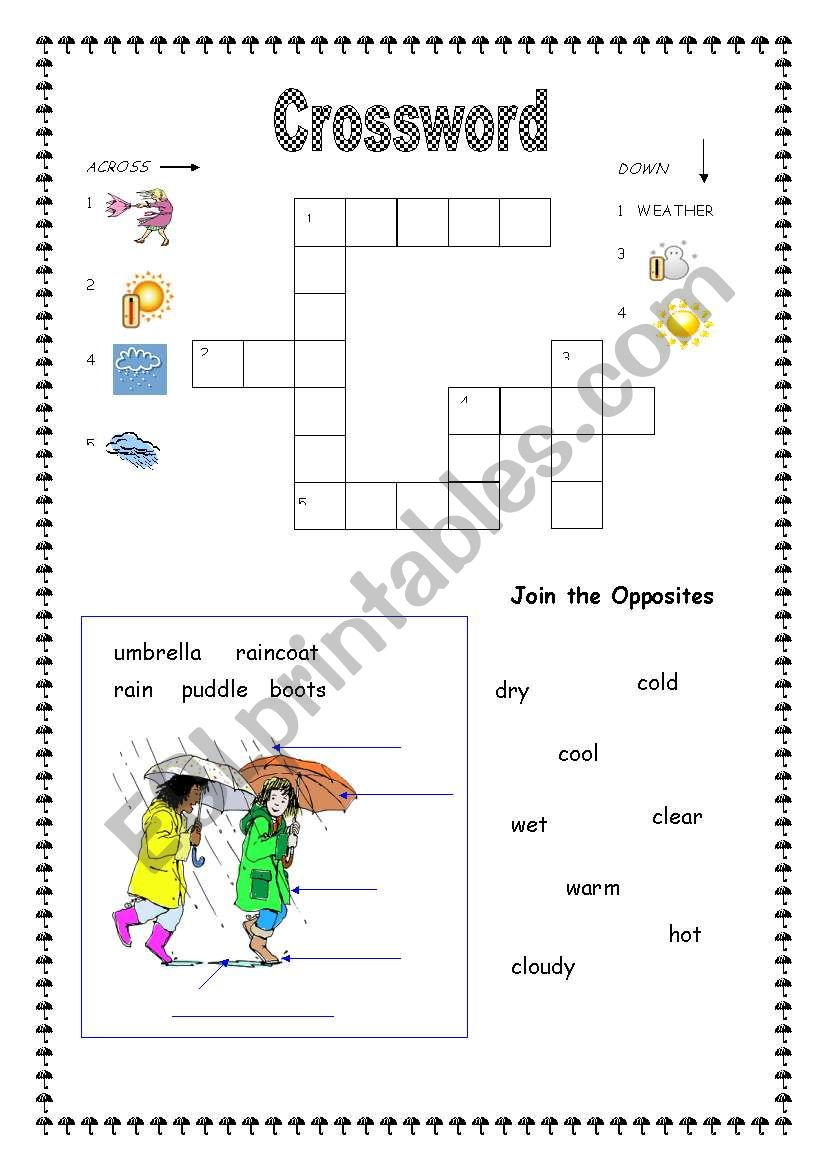 weather crossword esl worksheet by apodo. Black Bedroom Furniture Sets. Home Design Ideas