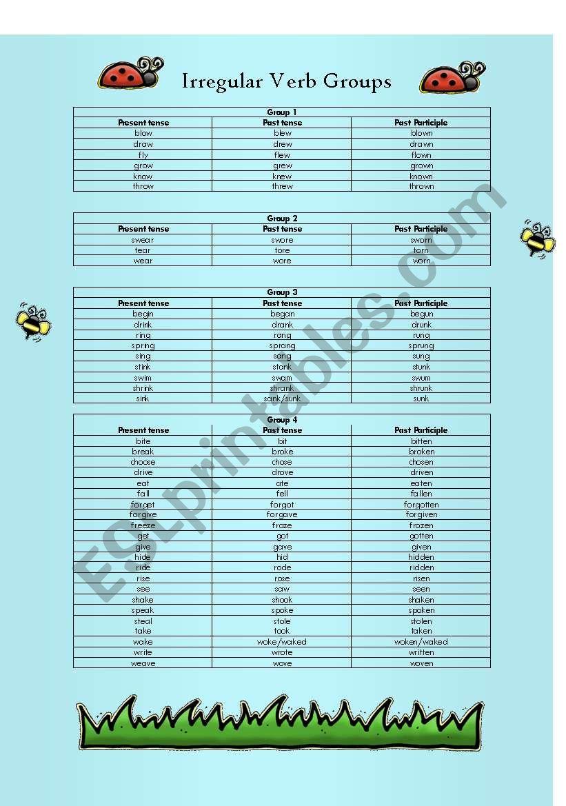 irregular verb groups worksheet