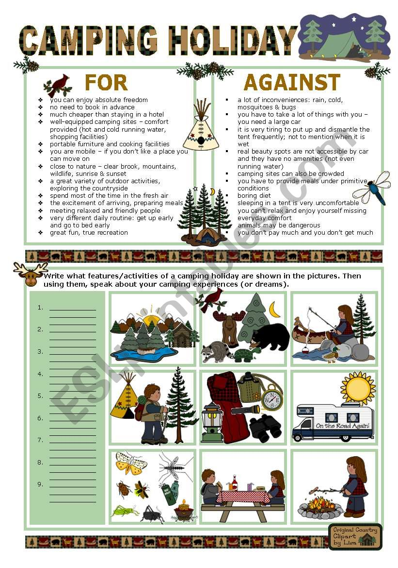 CAMPING HOLIDAY worksheet