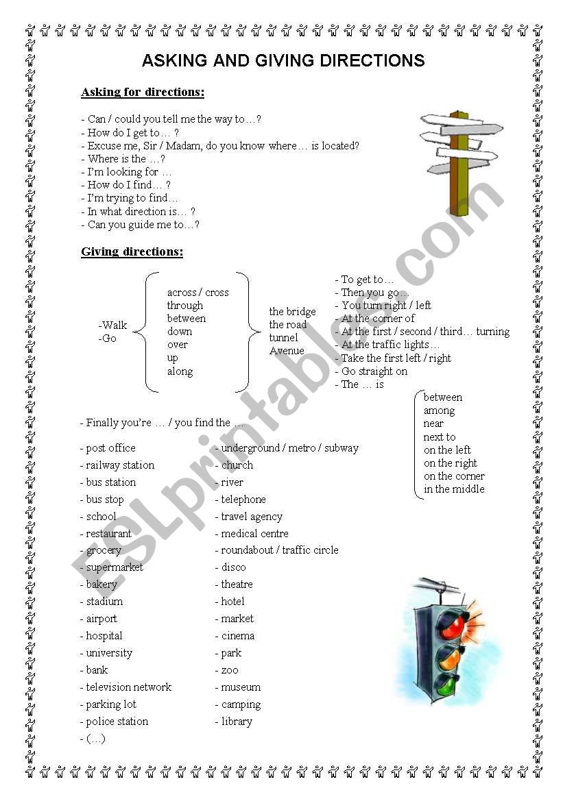 asking and giving directions worksheet