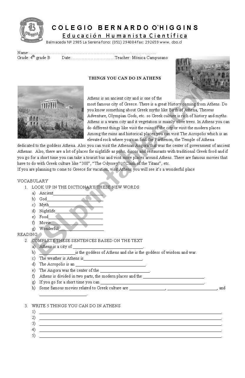 Athens worksheet