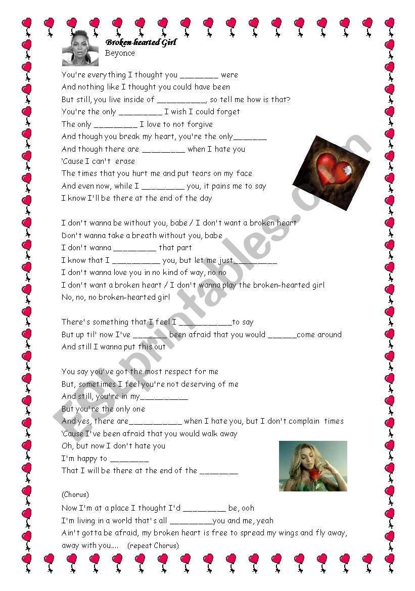 Beyoncé - Broken-hearted girl worksheet