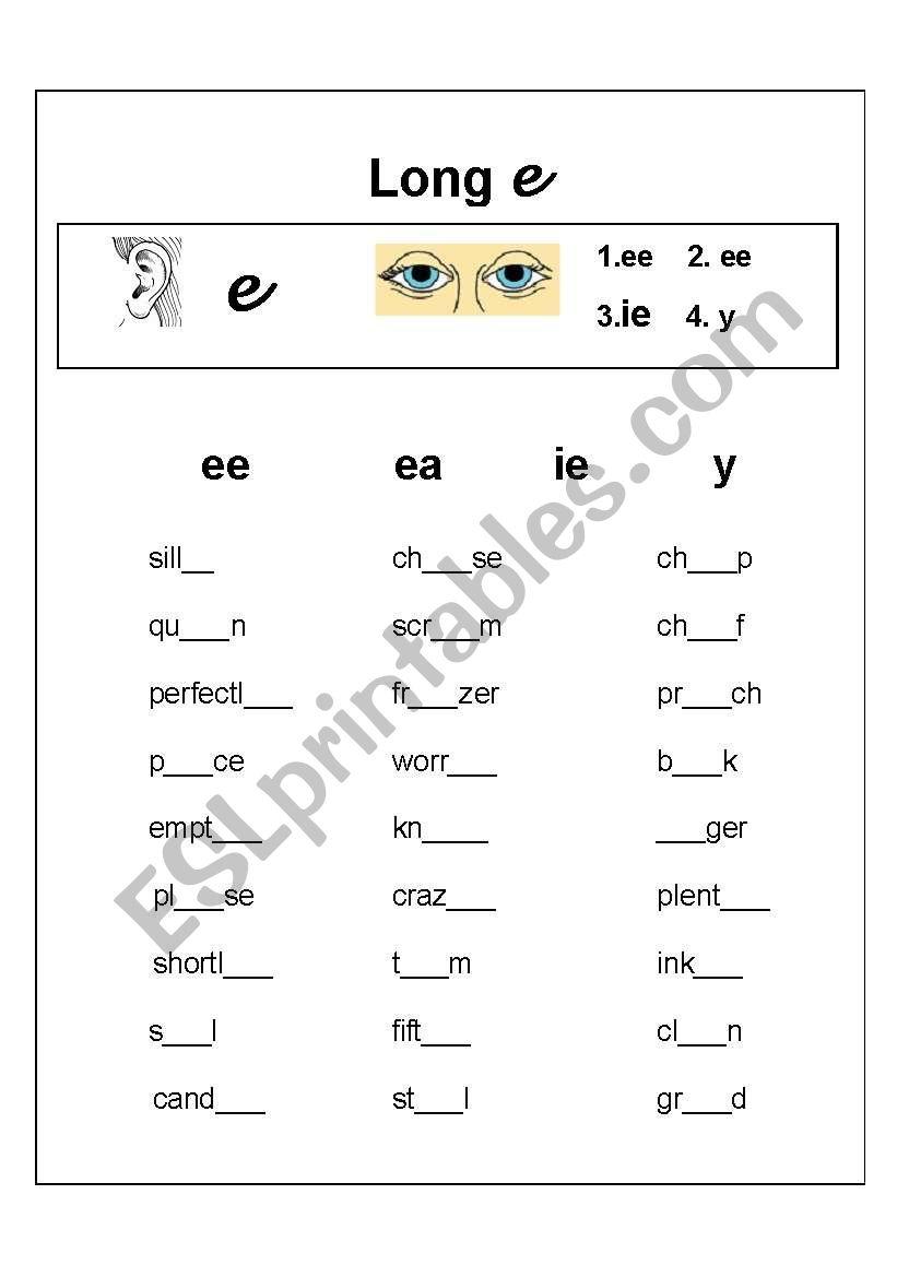 Long vowel e spelling exercise - ESL worksheet by ronel