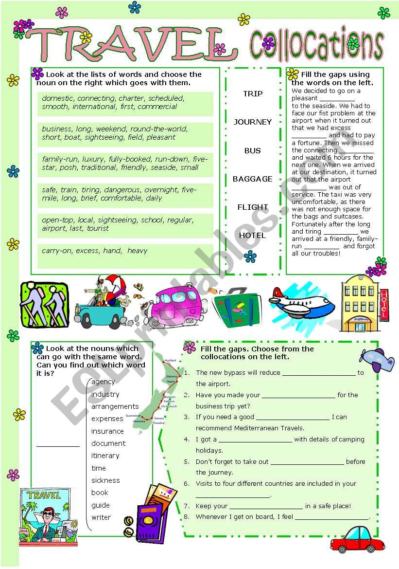 TRAVEL COLLOCATIONS worksheet