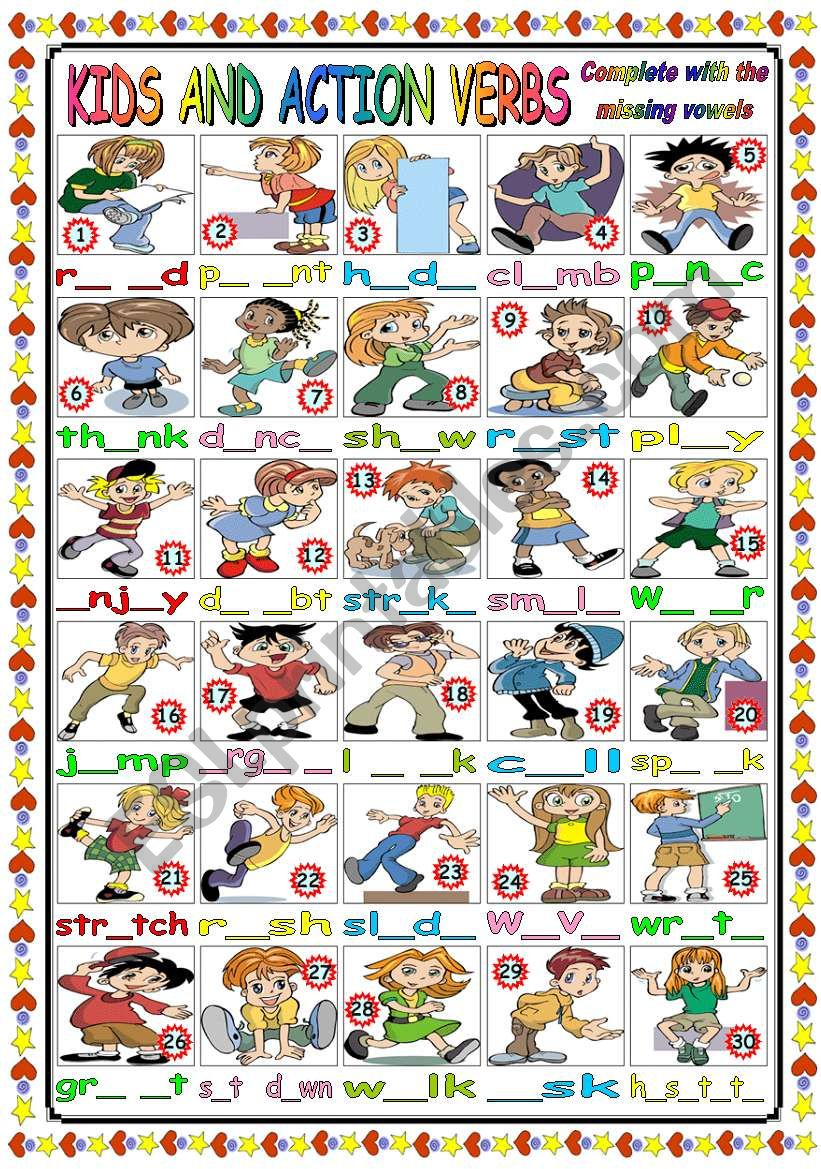 CUTE KIDS AND ACTION VERBS (B&W VERSION+KEY INCLUDED)