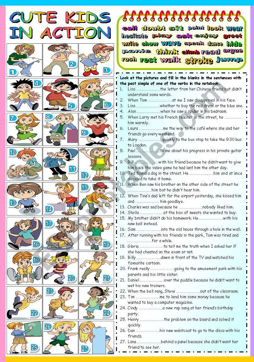 CUTE KIDS IN ACTION - PAST SIMPLE TENSE (B&W VERSION + KEY INCLUDED)