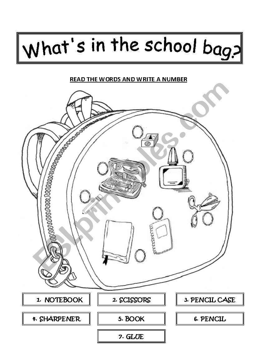 What´s in the school bag worksheet