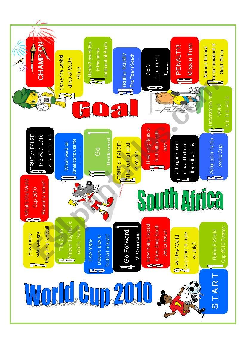 Game - World Cup 2010 worksheet