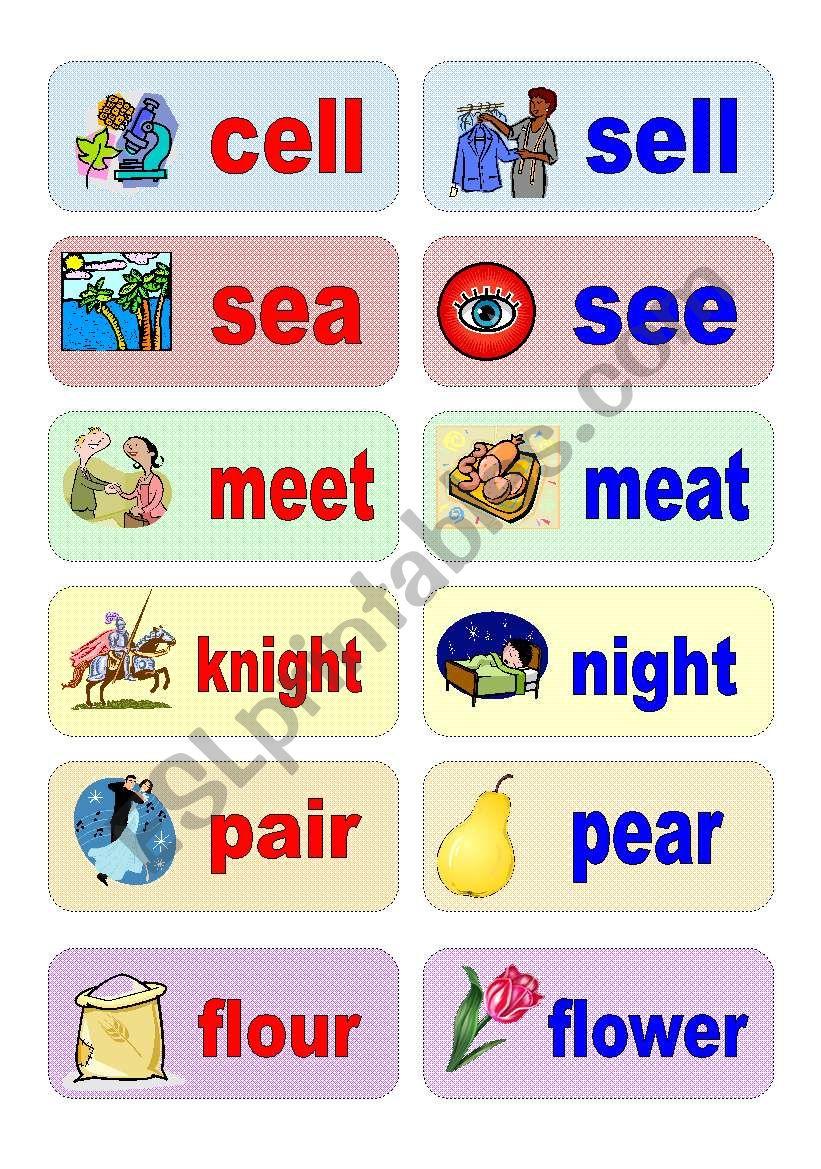 homophones - activity cards (set 1)