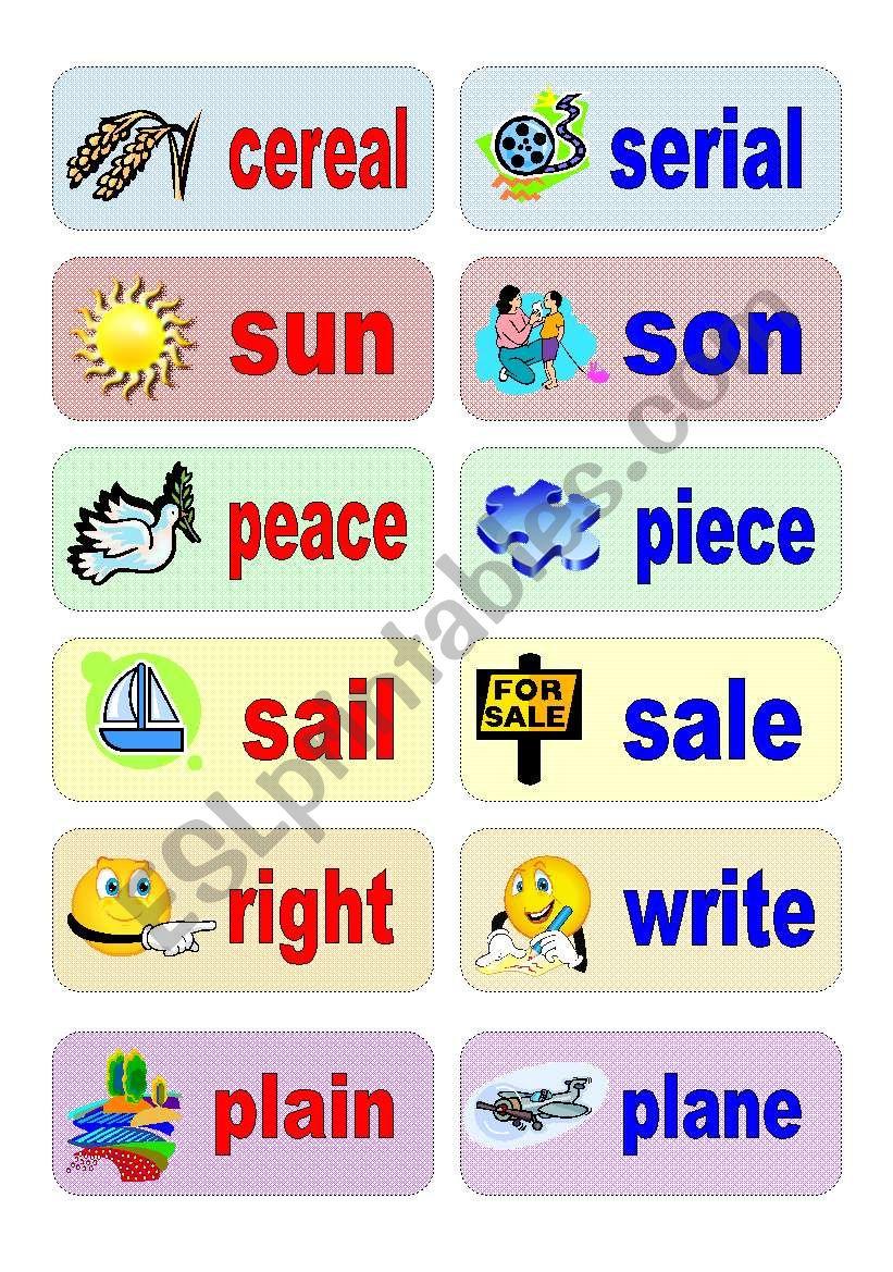 homophones - activity cards (set 2)