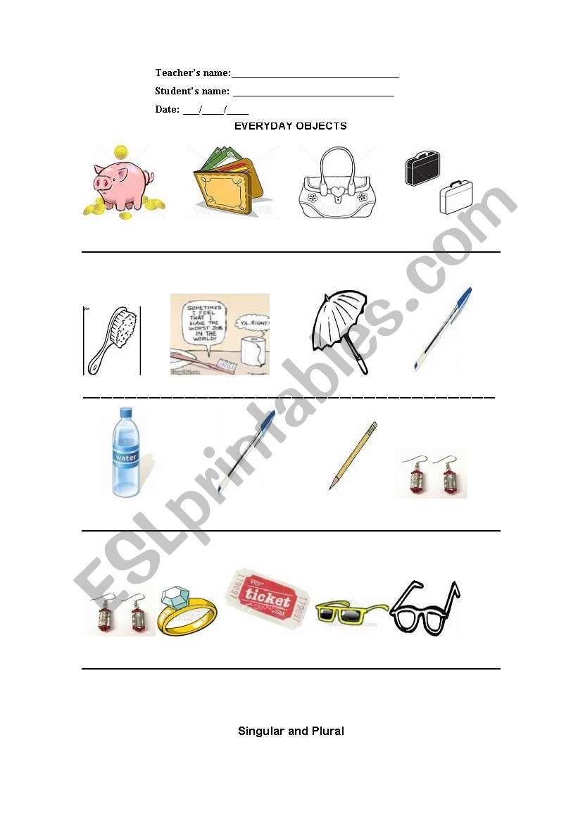 Everyday Objects - singular/plural