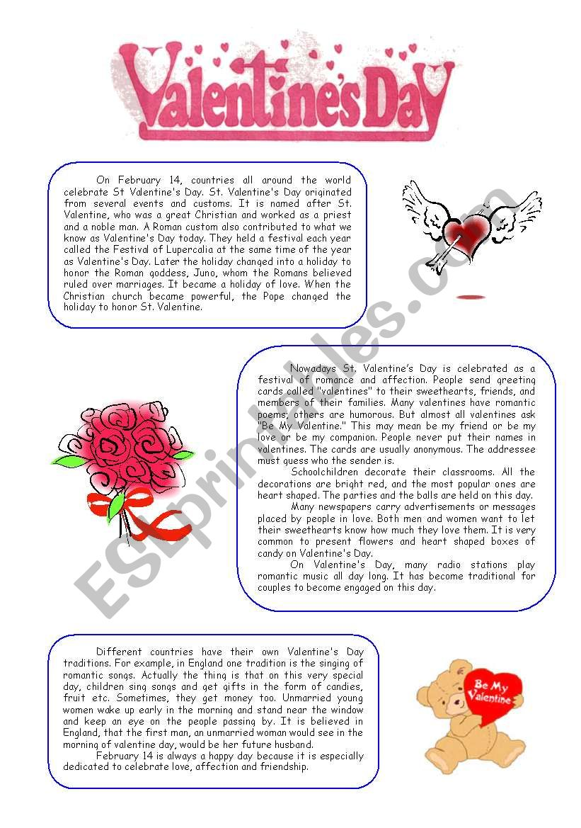 valentine s day reading comprehension esl worksheet by natalis. Black Bedroom Furniture Sets. Home Design Ideas