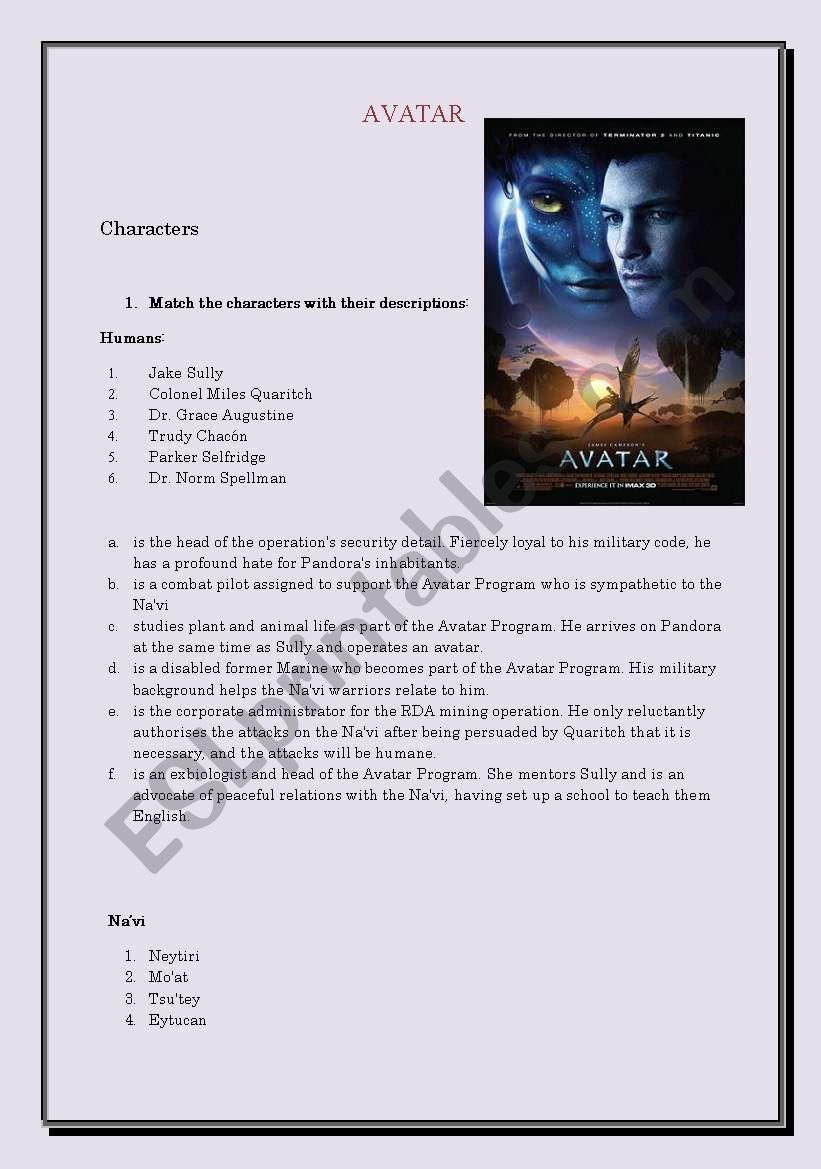 Avatar worksheet