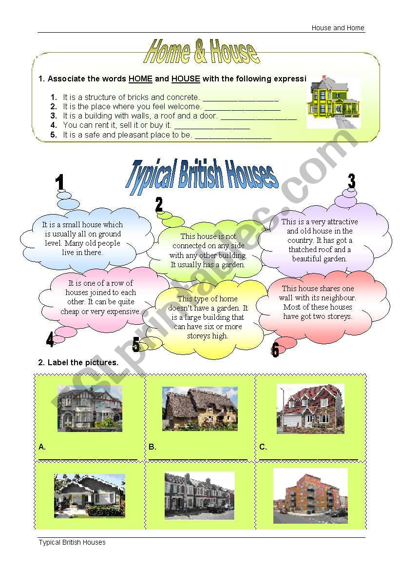 Typical British Houses worksheet